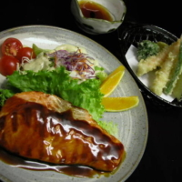 Tempura and Salmon Teriyaki